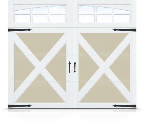 X-Buck Overlay on Taupe with 3-over-3 Pane Arched Windows