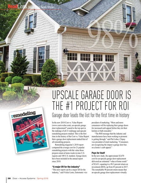Garage Doors lead the list household projects for Return on Investment.